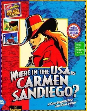 Where in the USA is Carmen Sandiego Deluxe DOS front cover